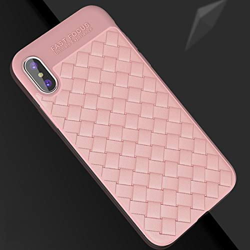 Shockproof LIJM For IPhone X/XS Weave Style TPU Ademend Soft Protective Back Cover Case (Zwart) Decoratie (Color : Pink)