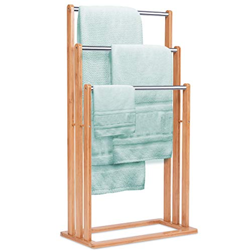 GIANTEX Handtuchständer freistehend Bambus, Badehandtuchständer Handtuchhalter Badetuchhalter mit 3 Handtuchstangen aus Edelstahl, Badaccessoire für Handtücher