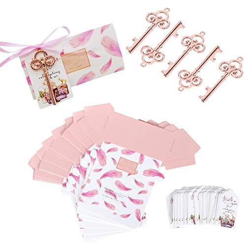 50 Stks Sleutelhanger Flesopener, Vintage Zinklegering Bieropener met Hangtags/Suikerdozen/Roze Touwen voor Bruiloft…