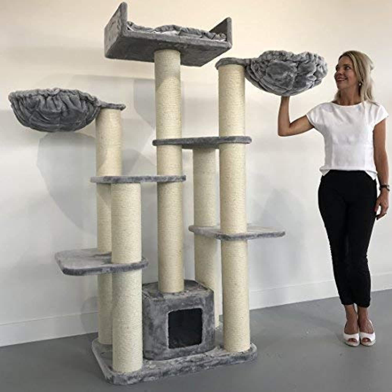 Cat tree for large cats Maine Coon Fantasy Light Grey XXL extra big breed trees scratch post and adult towers Furniture scratcher activity centre