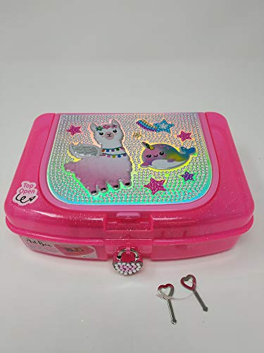 Hot Focus Art Box W/Compartments with Pad Locks and Keys – Llama Girls School Pencil Case Box Includes Neon Gel Pen, Notepad and Stickers