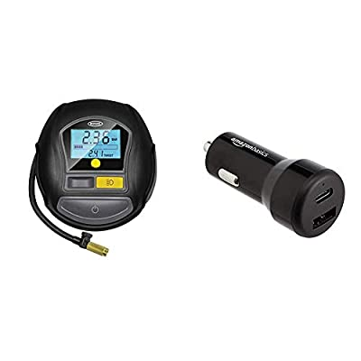 Ring Automotive Ring RTC1000 12V Rapid Preset Digital, Air Compressor Pump, 2 min Tyre Inflation, LED Light, Carry Case, Valve Adaptors + AmazonBasics USB-C (15W) and USB-A (12W) Car Charger