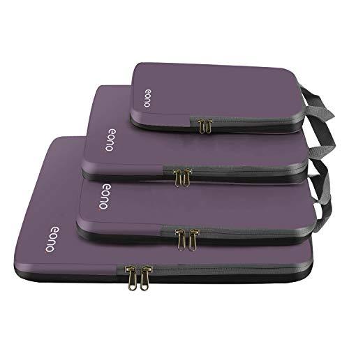 Eono by Amazon - Komprimierbaren Packwürfeln zur Organisation Ihres Reisegepäcks, Compression Packing Cube, Packtaschen Set & Gepäck Organizer für Rucksack & Koffer, Grau, 4-teilig