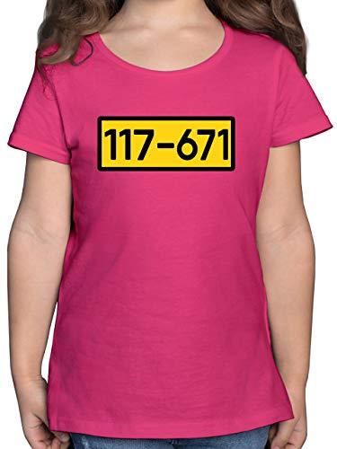 Karneval & Fasching Kinder - Einbrecher Nr. 117-671 - gelb - 152 (12/13 Jahre) - Fuchsia - Geschenk - F131K - Mädchen Kinder T-Shirt