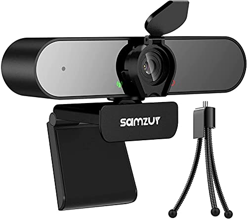 Webcam avec Microphone, Samzuy Full HD 1080p Streaming USB Facecam, Réglable, Mise au Point Automatique, Audio Clair, Plug and Play, pour Pc Mac Ordinateur Portable, Meeting Skype Facetime Youtube