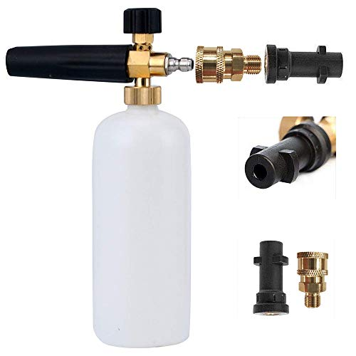Foam Cannon Lanza de Espuma Ajustable Dispensador de Jabón 1L Botellas con Karcher y 1/4' Rápido Conector Compatible con Karcher K2 K3 K4 K5 K6 K7 Pistola de lavado a presión (con cinta impermeable)