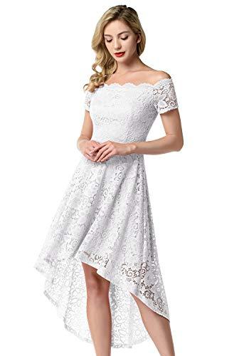 Aupuls Damen Elegant Spitzenkleider Vokuhila Schulterfrei Ballkleid Abendkleid Hochzeit Cocktailkleider Weiß L