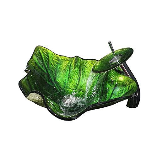 Homelava Modern Gehärtetes Glas Waschbecken Blatt Design Glas Aufsatz Waschschale mit Wasserfall Wasserhahn (Grün)