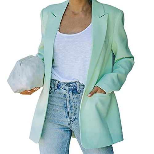 Hislaves Moda solo pecho mujeres Blazer manga larga otoño invierno solapa bolsillos traje abrigo abrigo para oficina trabajo verde*L