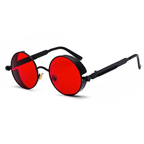 Fashion Vintage Retro Steam Punk Wind Sunglasses Classic Unique Design Sun Glasses (Black red)