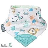 Lätzchen für zahnende Babys und Kleinkinder - Bandana Lätzchen mit Beißring aus Silikon - Preisgekröntes Halstuch Design von Cheeky Chompers - hygienisch + saugfähig + BPA frei (Cheeky Animals)