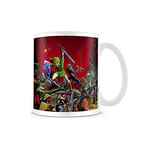 Legend of Zelda Link - Taza de café con efecto térmico, logo de batalla