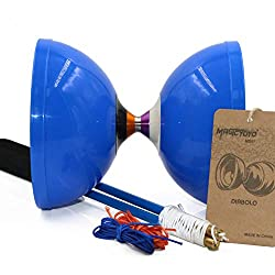MAGICYOYO Spinabolo Pro Triple Wide Bearing Chinese Yoyo Diabolo High Performance Chinese Yoyo Diabolo Skill Toy(Blue)