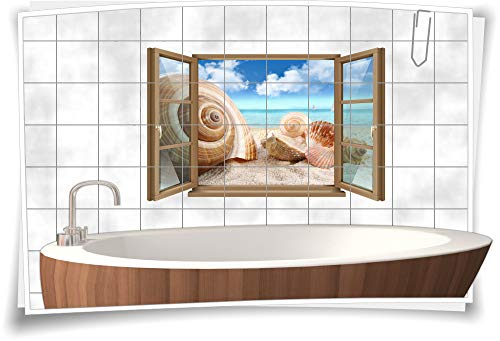 Medianlux - Adesivo per piastrelle, per finestre, conchiglie, spiaggia, acqua, nuvola, sabbia, bagno, WC, pellicola decorativa, stampa digitale, 150 x 97 cm, 20 x 20 cm (larghezza x altezza)