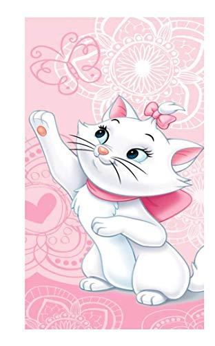 Idée cadeau pour enfant – Disney Aristochats – Marie : serviette/drap de bain/serviette de plage 100 % coton – 70 x 140 cm – (Marie 02)