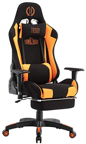 CLP Silla Gaming Turbo LED En Tela o Cuero Sintético I Silla Gamer con Luces LED, Reposapiés Abatible & Reposabrazos Ajustables, Color:Negro/Naranja, Grundmaterial:Stoff