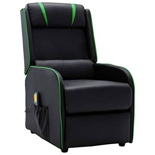 UnfadeMemory Poltrona Massaggiante Reclinabile Recliner in Similpelle, Elettrica Poltrone Relax Telecomando | Design Moderno (Nera e Verde)
