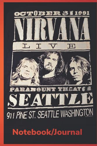 JOURNAL Nirvana: Journal with lined pages to write on - Cover inspired by vintage 1991 Nirvana concert souvenir tee shirt - 120 pages