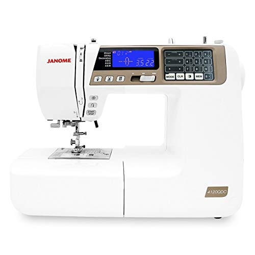 """Janome 4120QDC Computerized Sewing Machine (New 2020 Tan Color) w/Hard Case + Extension Table + Instructional DVD + 1/4"""" Seam Foot w/Guide + Overedge Foot + Zig Zag Foot + Buttonhole Foot + More!"""