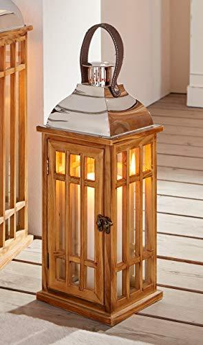"""Dekoleidenschaft Laterne """"Wood"""", 40 cm hoch, Windlicht aus Holz mit Glas, Metalldach & stabilem Henkel"""