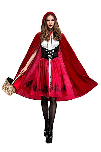 Cuteshower Women Little Red Riding Hood Costume Halloween Hood Cape Party Dress (Small, Red)