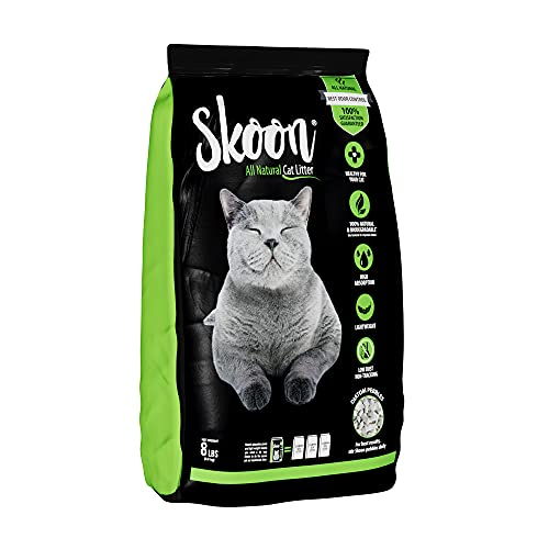 (1 Bag) Skoon All-Natural Cat Litter, 8 lbs - Light-Weight, Non-Clumping, Low Maintenance, Eco-Friendly - Absorbs, Locks and Seals Liquids for Best Odor Control.