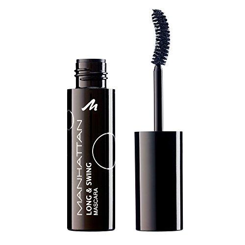 Manhattan Long & Swing mascara – zwarte wimperverf met gebogen borstel voor extra veel volume en lengte – kleur zwart 1010N – 1 x 9 ml
