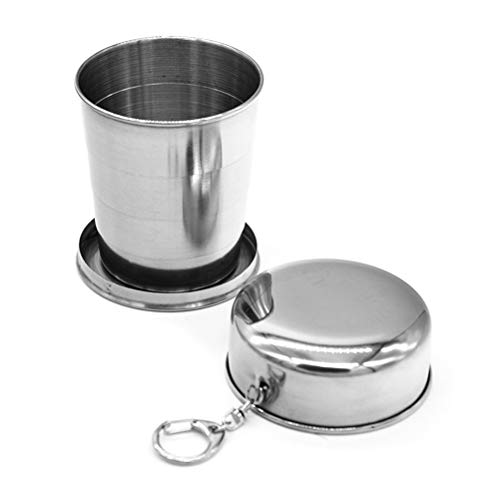 AGAWA Collapsible Travel Cup, 240ml Retractable Water Cup Stainless Steel Wine Folding Cup Mini Glass Telescopic Folded Mug for Hiking, Camping, Picnic,Silver