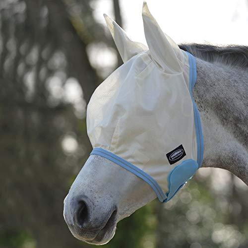 Weatherbeeta comfitec essentiële mesh masker licht taupe/licht blauw/taupe kleine pony