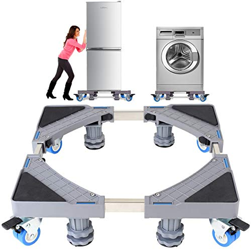 Mobile Roller, Washing Machine Stand Base,Mobile Base for Dryer Refrigerator Furniture Roller Base with Stronger Locking 4 Rolls 4 Feets