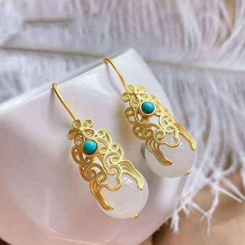 SALAN Nueva Plata Incrustada Natural Hotan Jade Turquesa Pendientes De Gota China Clásico Estilo Nacional Elegante Marca De Mujer Joyería