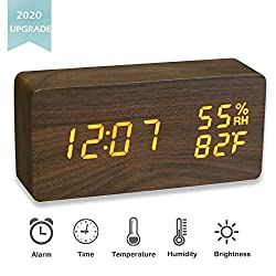 JCHORNOR Wood Alarm Clock,Wooden Led Warm Adjustable Brightness Clock with USB Cable,Time Temperature Humidity Desk Clocks for Home/Kid Room/Office-Brown