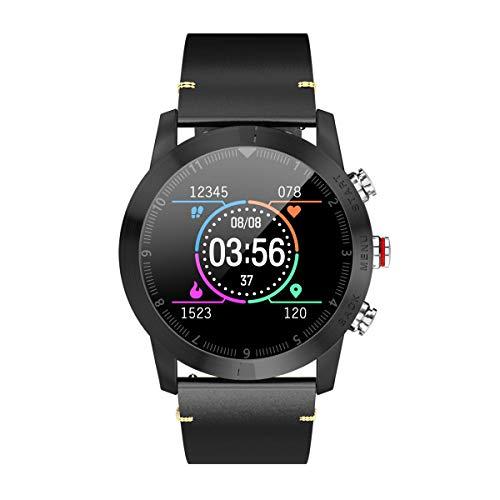 Goglor Smartwatch Met Hartslagmonitor, Multifunctionele Digitale Sport GPS Running Watch, Waterdichte Hr Hybrid Smartwatch, Fitness Tracker Voor Zwemmen, Hardlopen. Android, IOS Leather strap Zwart