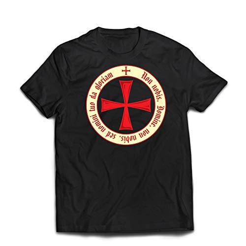 lepni.me Camisetas Hombre El Código de los Templarios Orden de Caballero Cristiano, Cruz del Cruzado (XXXXX-Large Negro Multicolor)