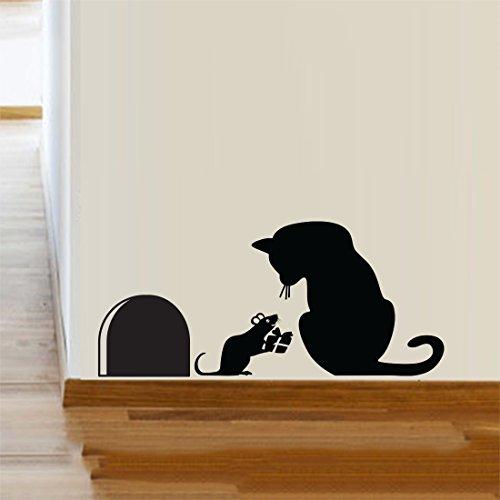 Katze Maus Loch Weihnachten Party Geschenk Vinyl Wandaufkleber Dekor Aufkleber Wand Kitchen Haustiere