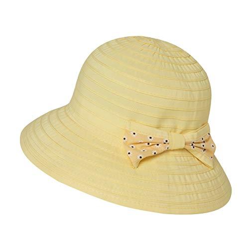 Jeff & Aimy Kinder Baby Mädchen Sonnenhut Faltbarer Sommerhut UPF 50 mit Kinnriemen Fisherhut Gelb