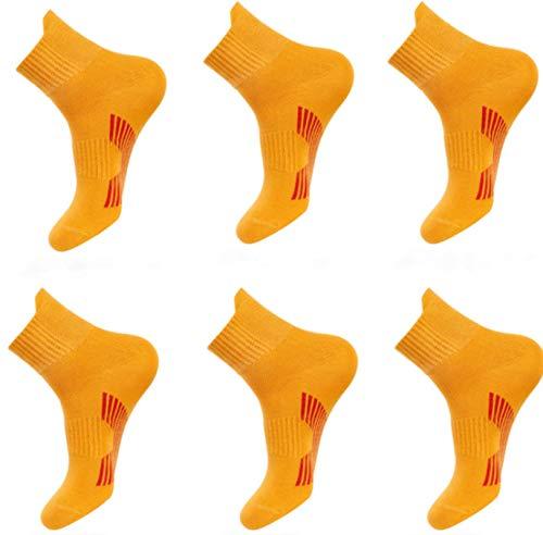 Remifa Calcetines, Calcetines Deportivos Engrosados con Desodorante de Baloncesto de Tubo Medio para Hombres y Mujeres, la Parte Inferior de la Toalla es Suave y Cómoda, 6 pares (amarillo)