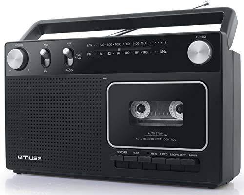 Muse M-152 RC Retro - Grabador de Casetes con Función de Grabación (Radio FM y Am, Entrada Aux, Antena Telescópica), Color Negro