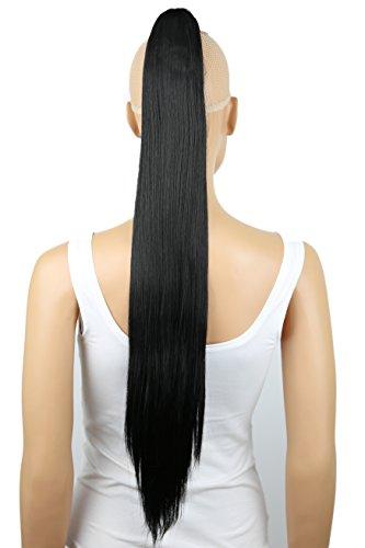 PRETTYSHOP 70cm Haarteil Zopf Pferdeschwanz Haarverlängerung Glatt Schwarz H74