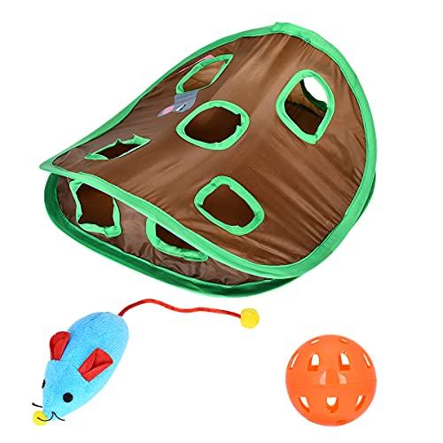 BEAUTYBIGBANG Katzenspielzeug 9 Löcher interaktives Mäuse-Jagd mit Glockenball von Kätzchen zusammenklappbar interaktives Intelligenzspielzeug fantastisch für Kätzchen und Katzen