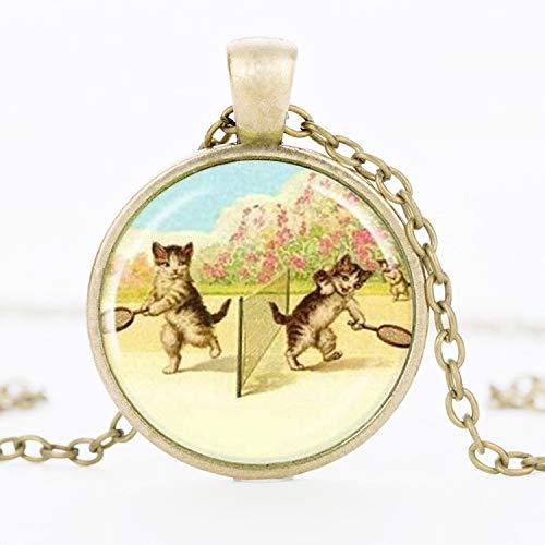 Halskette mit Anhänger aus Glas mit Katzenmotiv in Form eines Tennis-Katzen-Anhängers, Kunstdruck, rund, Halskette, Halsreif, Geschenk