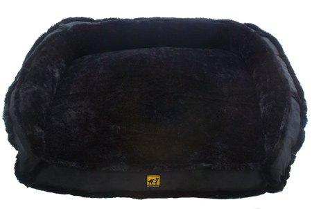 K9 Ballistics LUX Bolster Rectangle Bed Gray Black Fur/Black Micro - Medium (27