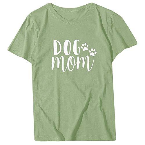 Ropa Informal Nueva Camiseta Mujer Perro Mamá Letra Imprimir Manga Corta O-Cuello Camiseta de Gran tamaño Loose Slim Top Multicolor