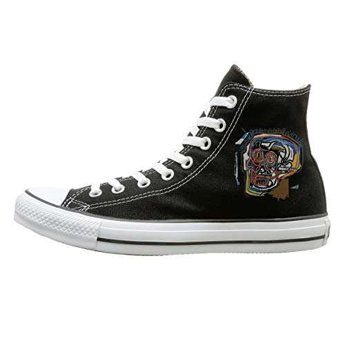 Edgergery Jean Michel Basquiat Skull Painting Classic Casual Shoes Flat Shoes Canvas Sneakers 43