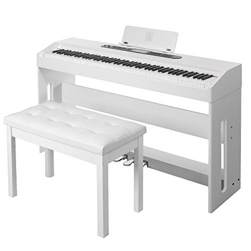 Digital Piano,Les Ailes de la Voix 88 Key Electric Piano Home Piano Electric Keyboard for Beginner Adults with 3 Pedal Board,Music Stand,Power Adapter, Headphone,Instruction Book White with Bench