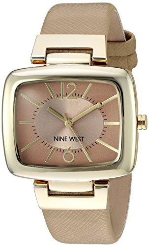 Nine West Women's NW/1856NTNT Gold-Tone and Tan Textured Strap Watch