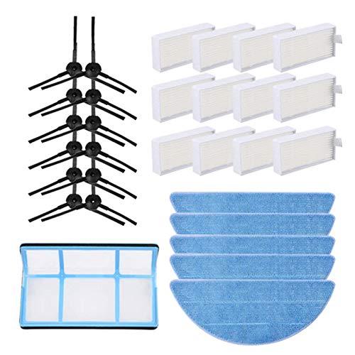 Sunbaca 6 pares de escovas laterais + filtros HEPA de 12 unidades + filtro primário de 1 unidade + panos de esfregão 5 unidades compatíveis com aspirador de pó ILIFE V5 V5S