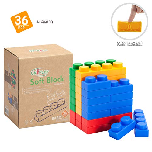 UNiPLAY Basic Soft Stacking Building Blocks for Ages 3 Months &Up Toddler and Baby-36 Pieces Set