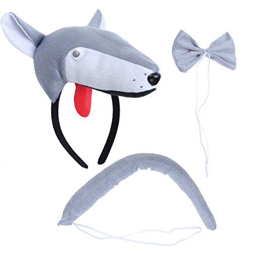 BESTOYARD Disfraz de Lobo para Nios Diadema Animal Conjunto de Orejas Animal Cola y Pajarita Traje de Costume para Halloween Fiesta 3 Piezas Lobo