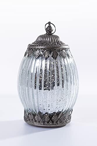 Home&Decorations H&D Lanterne en verre avec couvercle métallique Argenté vieilli